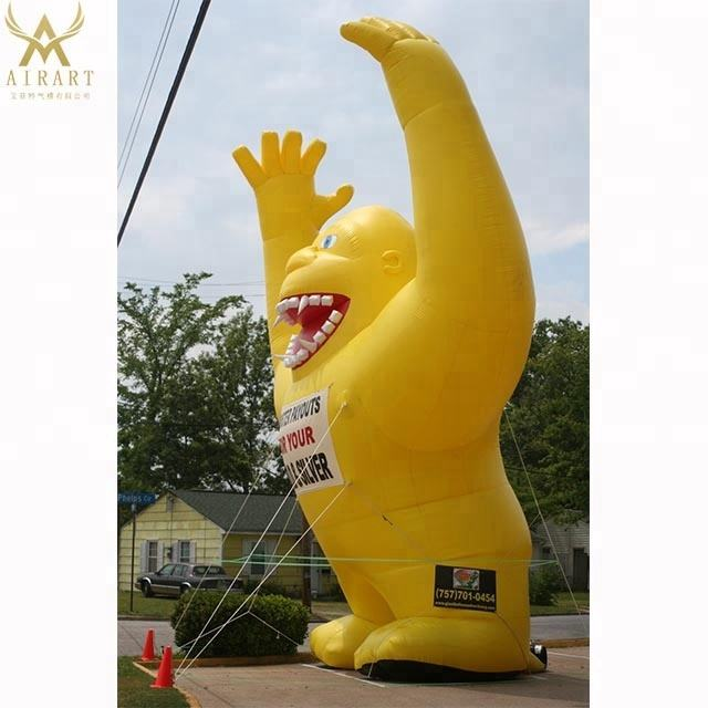 Customizable color giant Rooftop Inflatable Gorilla rental for advertising decoration