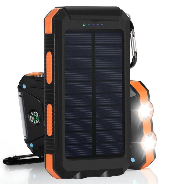 Portable solar mobile phone power bank waterproof solar charger 8000mah rohs power bank 10000mah