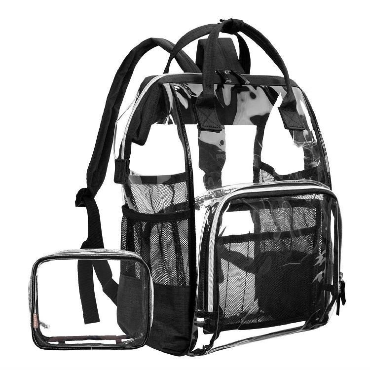 Large outdoor 15.6 Inch laptop safety travel vinyl school waterproof clear pvc backpack transparent wholesale with multi-pockets