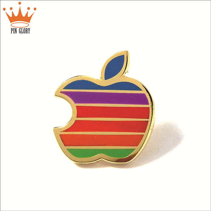 custom apple gold hard enamel hat pin