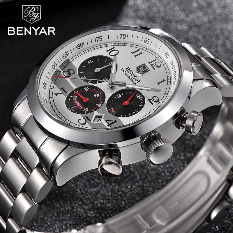 Benyar Men Watches Top Brand Luxury Chronograph Sport Male Clock Stainless Steel Military Army Wristwatch Relogio Masculino 5107
