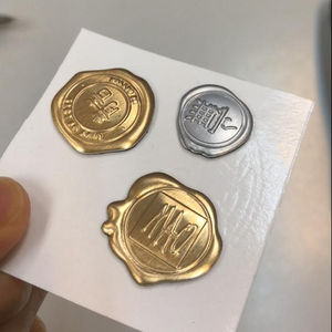 metal wax sticker for package gift box 3D embossed wax seal sticker for invitation envelop
