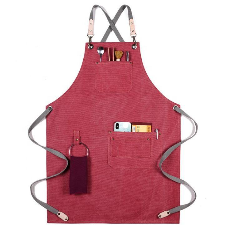 BBQ Cooking Heavy Duty Apron Canvas Kitchen Canvas Work Apron With Tool Pockets