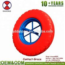 "16"" 4.00-8 Tubeless PU Wheel For Wheelbarrow Hand Truck power color solid barrow wheel spoke rim style wheelbarrow wheels"