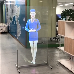 3d Adhesive holographic transparent rear projection screen film for glass advertising use