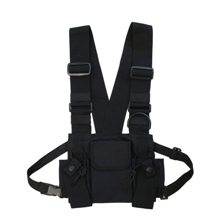 Universal Radio Front Chest Radio Harness Bag Pack Pouch Holster Vest Rig
