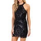 Wholesale Woman Black Patterned Sequin Short Dress