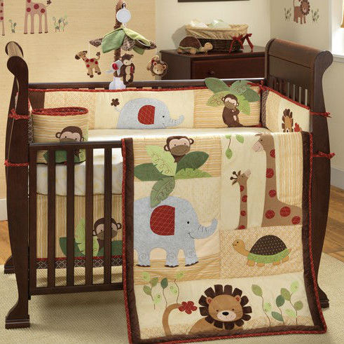 walking animals printed and Applique Embroidery patchwork baby bedding set