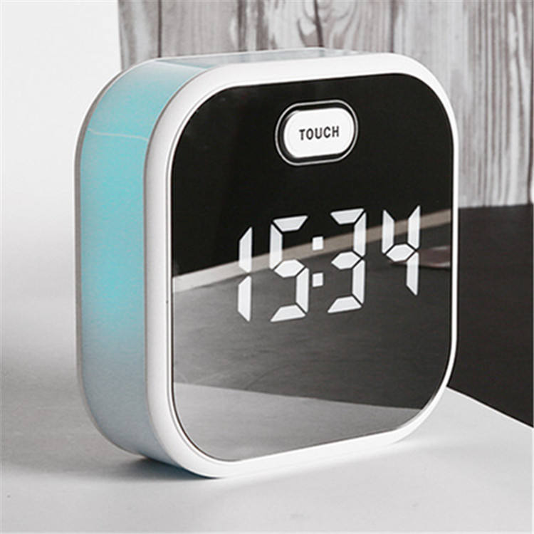 sound controlled rechargeable 7-colors mood light mirror panel LED digital 3 alarm fluxing clock