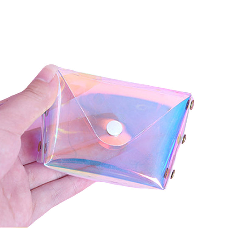 Promotion Fashion Waterproof Transparent Clear Wallet Girls Laser PVC Coin Purse For Women