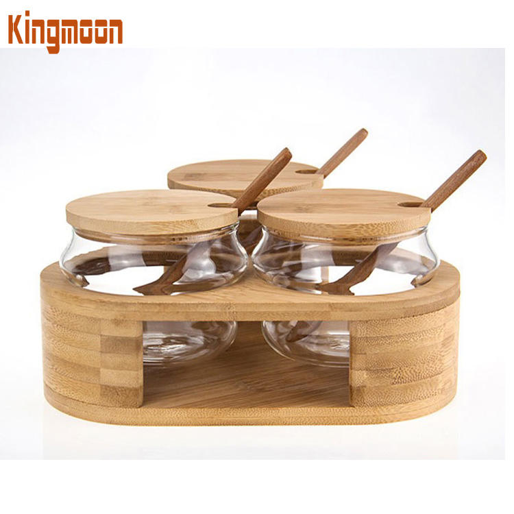 Glass Canister Set of 3, Clear Season Jars with Bamboo Lid, Food Storage Containers for Seasons