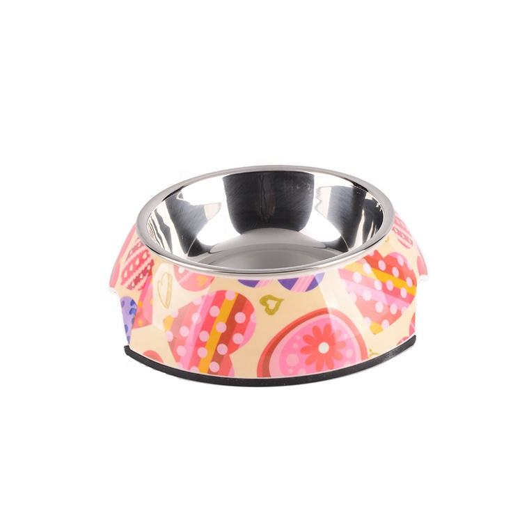 2019 Wholesale colorful melamine drinking portable pet bowl feeder