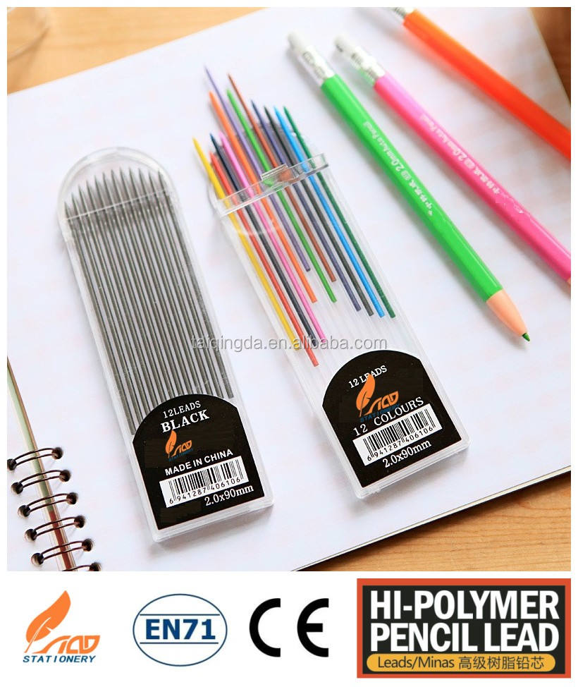2mm gift for children multi colored pencil with color lead to draw picture