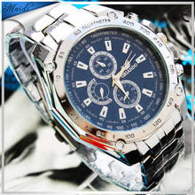 brand High Quality Men Analog Calendar Mens Man Watch with Silver Case Stainless Steel ,Hot sale brand waterproof