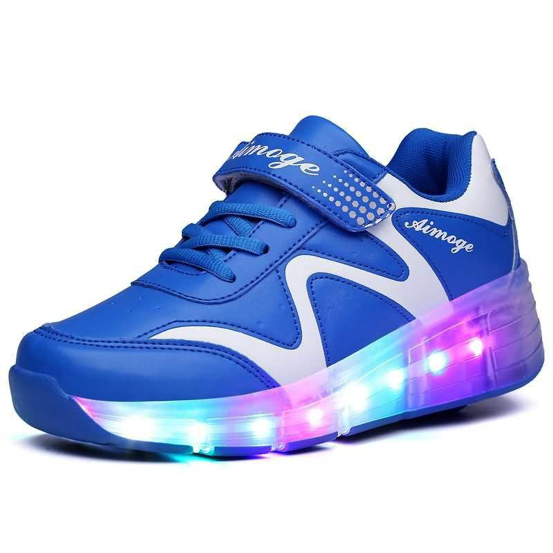 2018 New Design led outsole kids roller skate shoes