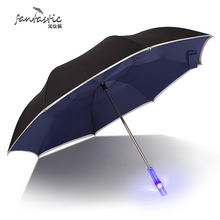 Fantastic light heat safety with tape reflective reverse umbrella double layer c handle reverse umbrella inverted