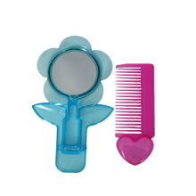 Flower Plastic Toy Makeup Mirror Comb Set for Girls