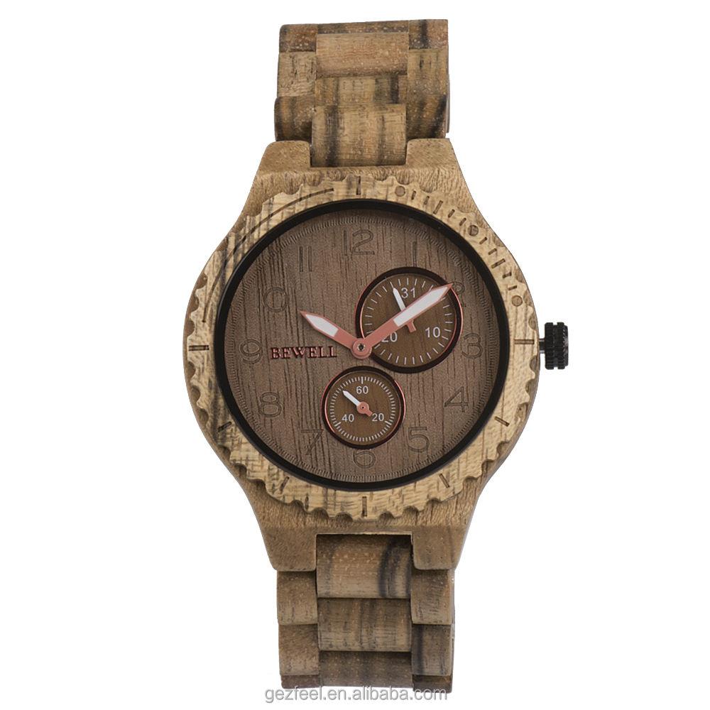 深セン腕時計工場カスタム木材腕時計フェイスカジュアルファッションウォッチ男性木製で日本seikos VD73Aクロノグラフmovt