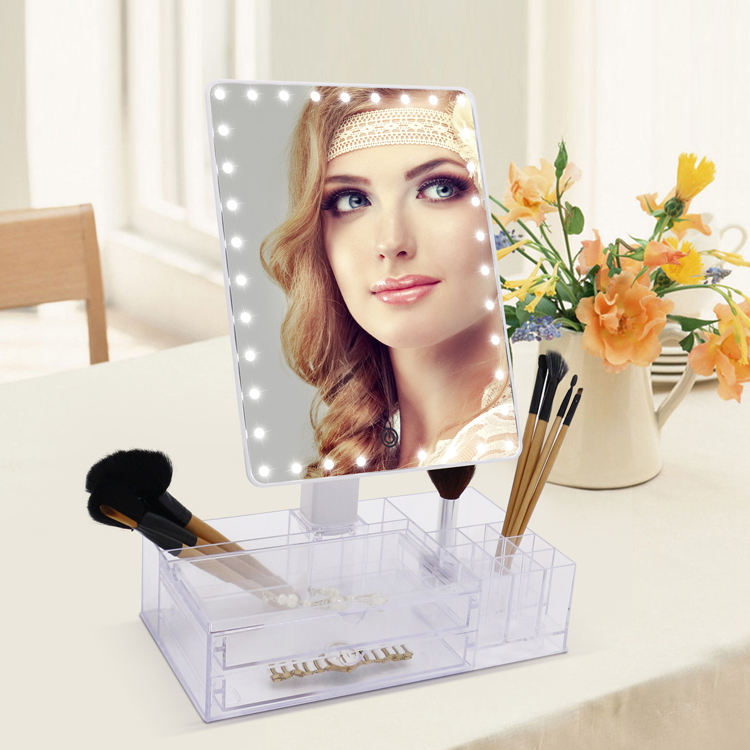 Beauty Products for Women Mirror with Organizer Light Led Rose Gold Makeup Mirror