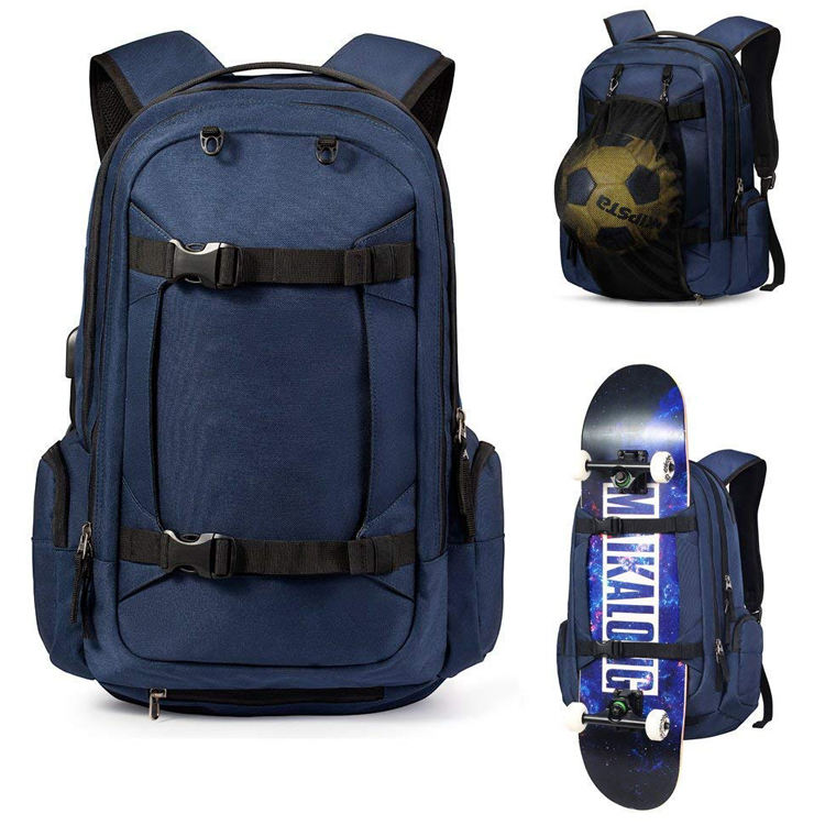 USB Port Customize Skateboard Backpack Soccer Bag Backpack Waterproof Polyester Unisex Zipper Soft Handle Interior Compartment
