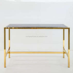 Gold cocktail bar table, golden stainless steel marble top bar table