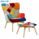 Patchwork fabric tufted armchair with footrest, scandinavian style wooden accent chair with ottoman