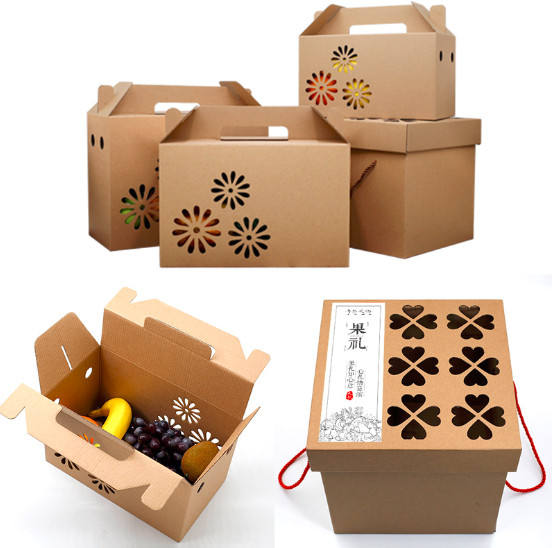 Kraft Corrugated Cardboard Dry Fruit Packaging Gift Box With Handle