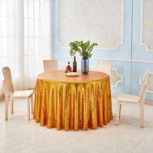 2019 Wholesale Cheap High Quality Gold Sequin  Round Wedding Tablecloths Table Cloth Cover Line Skirt for Party