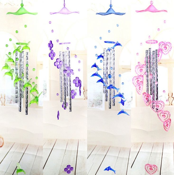 Boutique furniture pendants Acrylic wind chimes Faceted dolphin wind chimes Candy color Hearts flowers Multi-tube Wind chimes