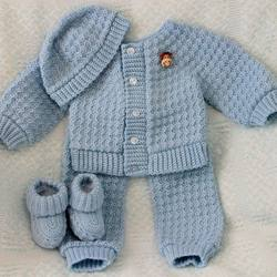 Hand Made Crochet Newborn Baby Sweater Beanie Suit Winter Kn