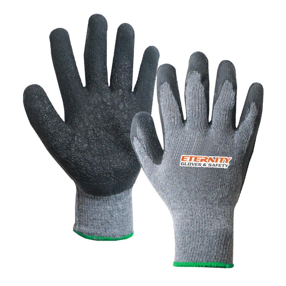 Protective Good Wholesale Promotional 10G Recycled Cotton Polyester Black Latex Foam Palm 3/4 Coating Working Gloves