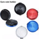 Round Aluminum Euro Coin Dispenser Storage Coins Purse Wallet Storage Box Coin Holder for car home