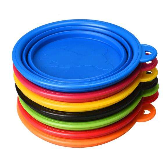 Pet Travel Bowls,kingtech portable pet silicone folding bowl with Carabiner Belt Clip for Dog and Cat Food Water Feeding DB-16L
