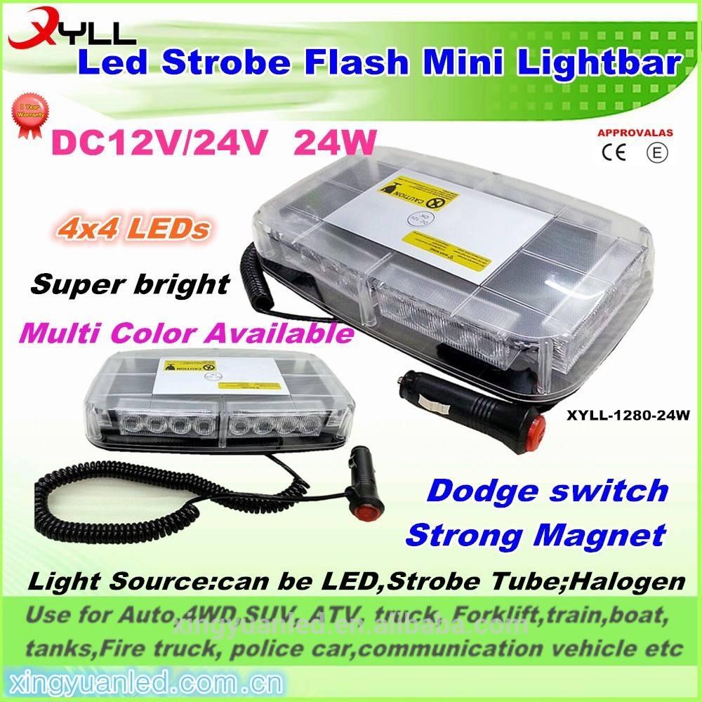 Ámbar potencia LED Strobe luz de advertencia barra de luces ámbar policía flash estroboscópicas advertencia grupales