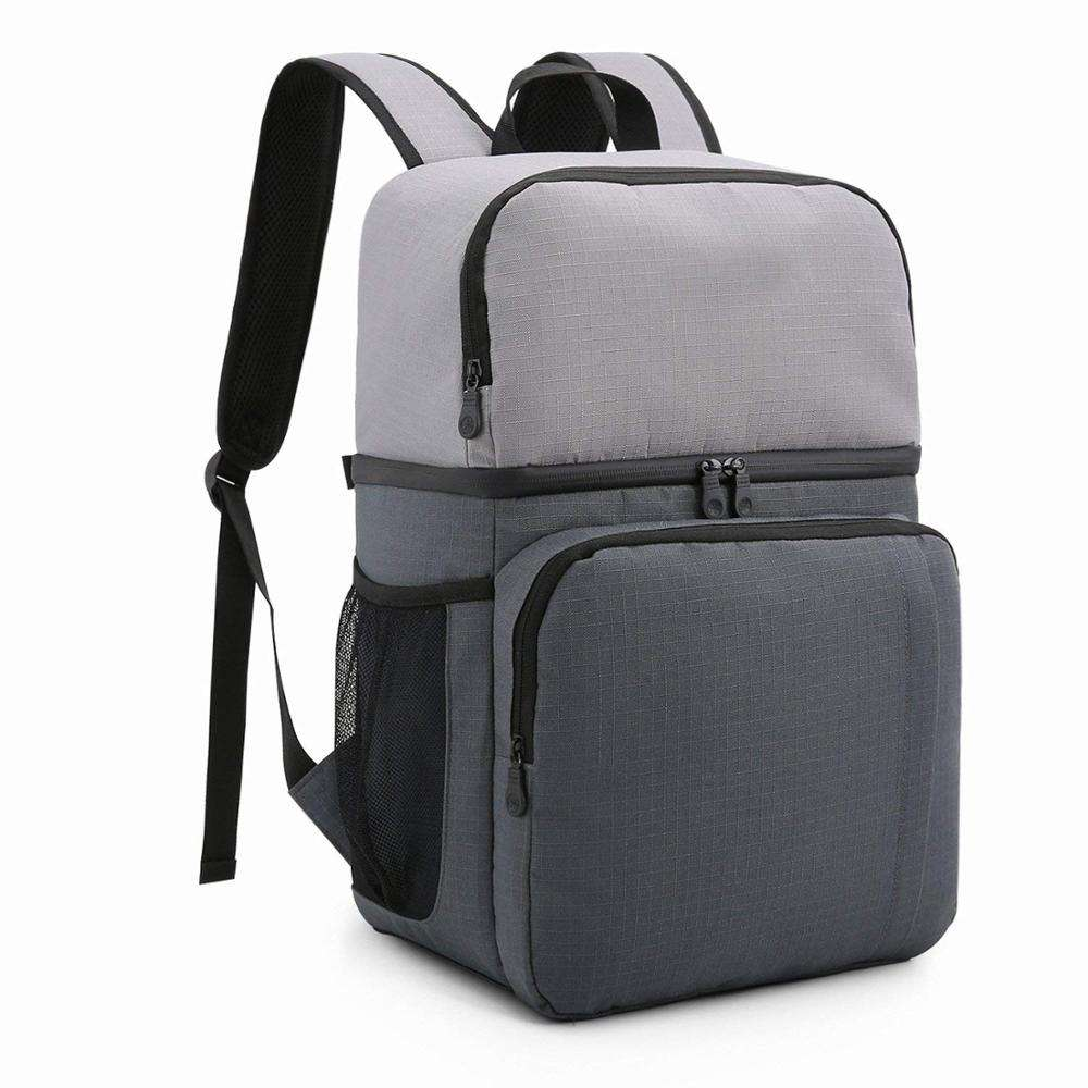 Leak Resistant Insulated Cooler Backpack Dual Insulated Compartment Light Lunch Backpack with Cooler For Hiking