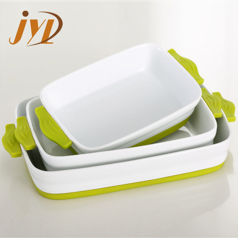 Bakeware type baking ceramic roasting dish with silicone handles