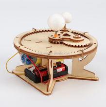 DIY Gear Drive Pendulum Space Planet 3D Wooden Model Building Gift Toys