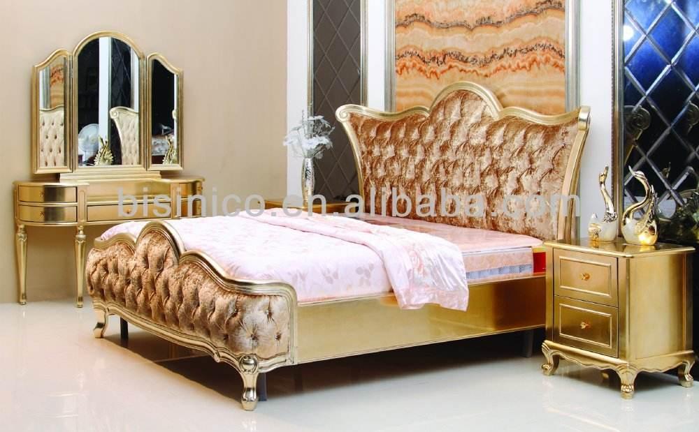 Feuille d'or de luxe mobilier de <span class=keywords><strong>chambre</strong></span> en bois de style européen classique lit king size