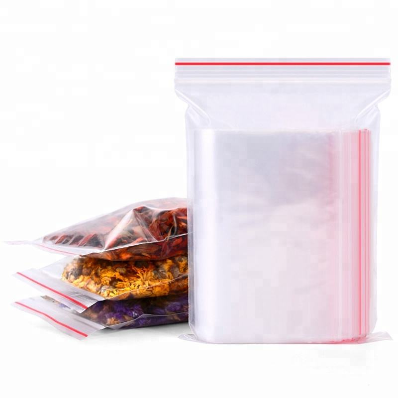 Eco Friendly Resealable Small to Large Flat Food Packaging Clear Transparent PE Plastic Zip Lock Bags