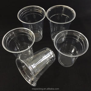 Factory low price clear biodegradable disposable PP plastic cup with domed lid flat lid