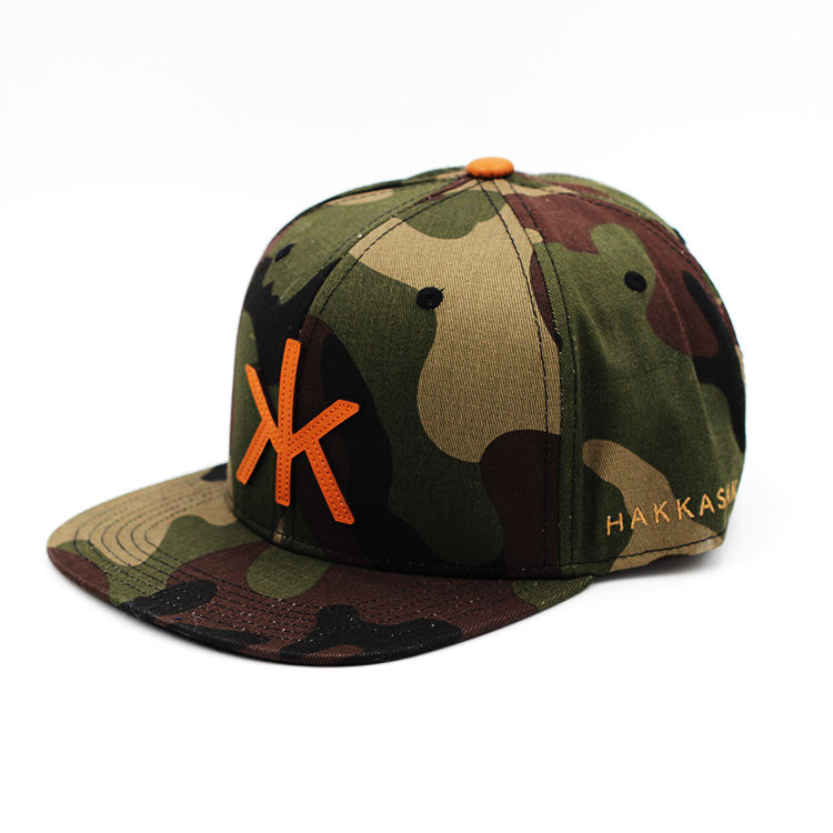 Leather Patch Camo Flat Baseball Cap Wholesale Custom Order
