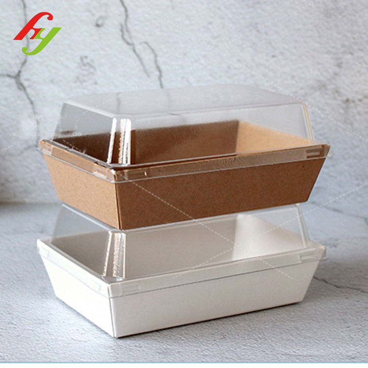 Kraft meal noodle Paper cake Box packaging with Clear PET Lid Custom Carry Tray