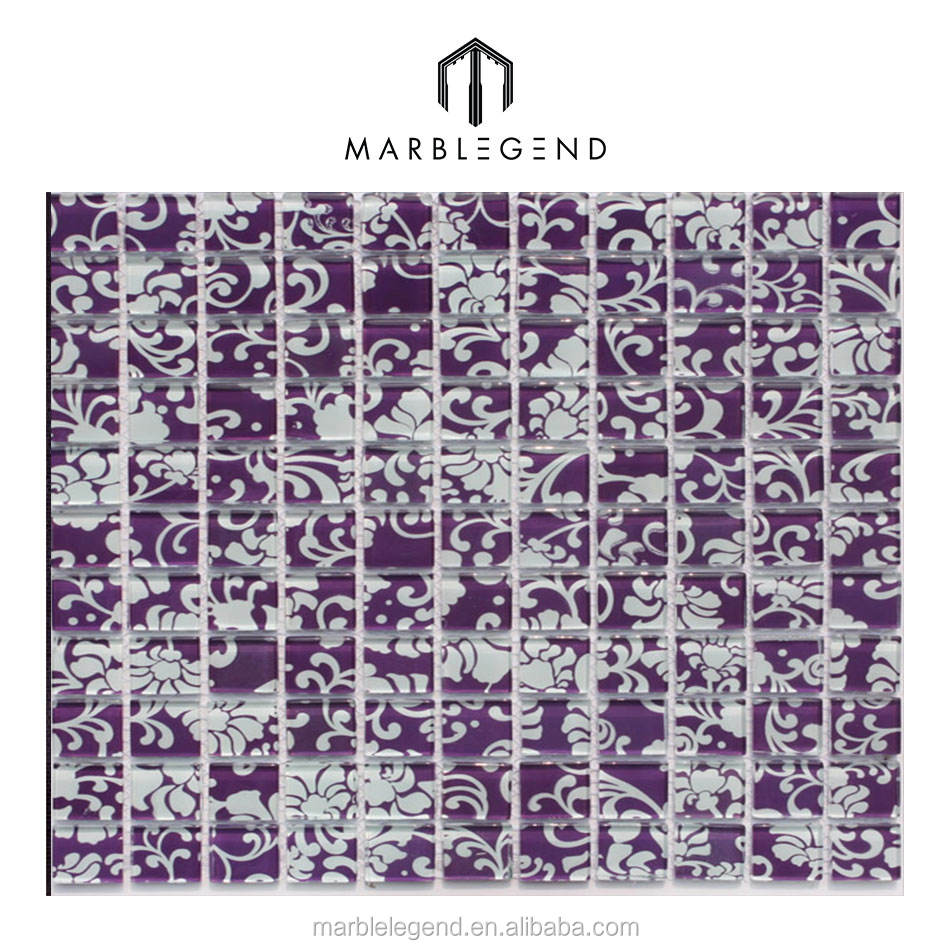 color patting for bathroom flooring white glass mixed purple mosaic tile