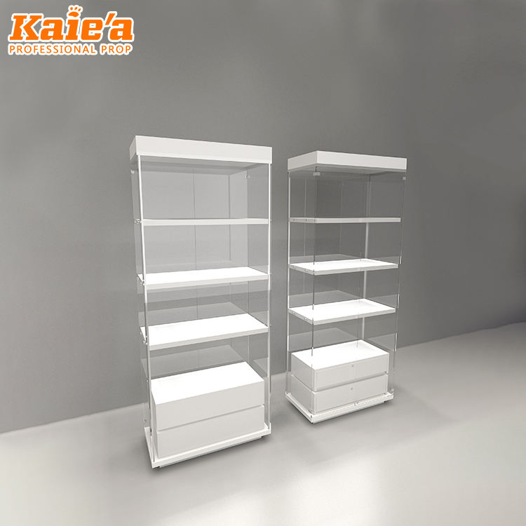 Wholesale simple design frameless wood and glass display showcase display cabinet