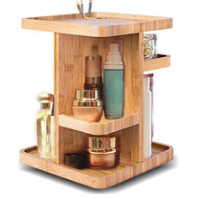 Bathroom 360 Degree Rotating Desktop Bamboo Cosmetic Organizer
