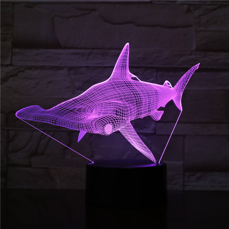 7 colors changing LED Table Night Light Whale Sharks Shape Magical Panel Optical Illusion Visual 3D Lamp For Kids