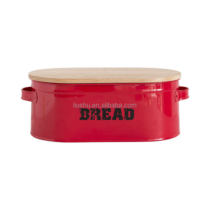 FDA metal bread storage bins with rubber wood lid