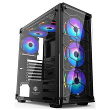 Newest 0.8mm Aluminum front atx gaming pc case glass computer case