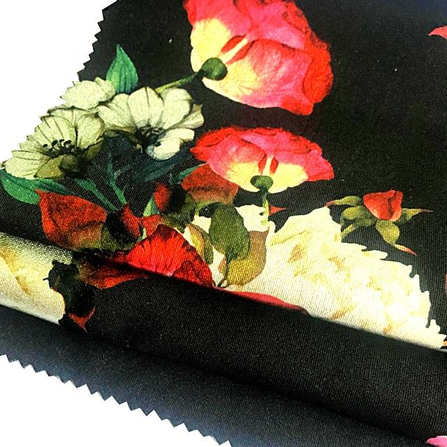 100%polyester different types of 3d flower breathable stretch fabric for garmetns
