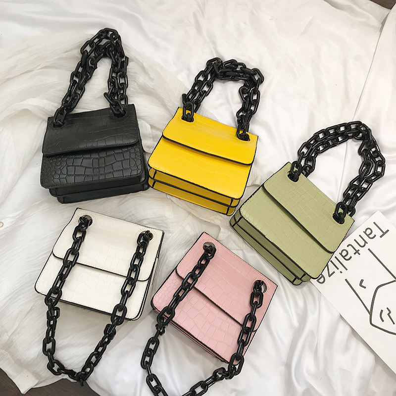 2019 Autumn Alligator Pattern Women Handbags Thick Plastics Chain Lady Purse Wholesale